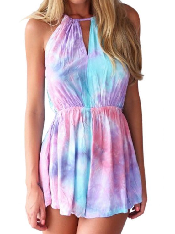 new Spaghetti Strap Colorful Tie Dye Romper - COLORMIX S