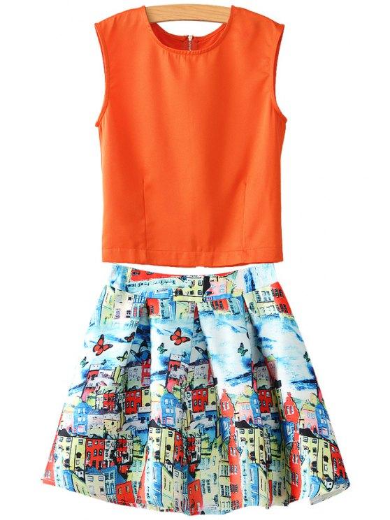 fashion Orange Tank Top and Print A-Line Skirt Suit - ORANGEPINK S