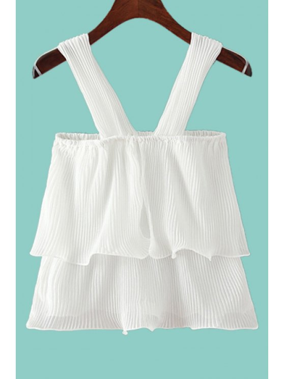 outfit Pleated Ruffles Chiffon Tank Top - WHITE ONE SIZE(FIT SIZE XS TO M)