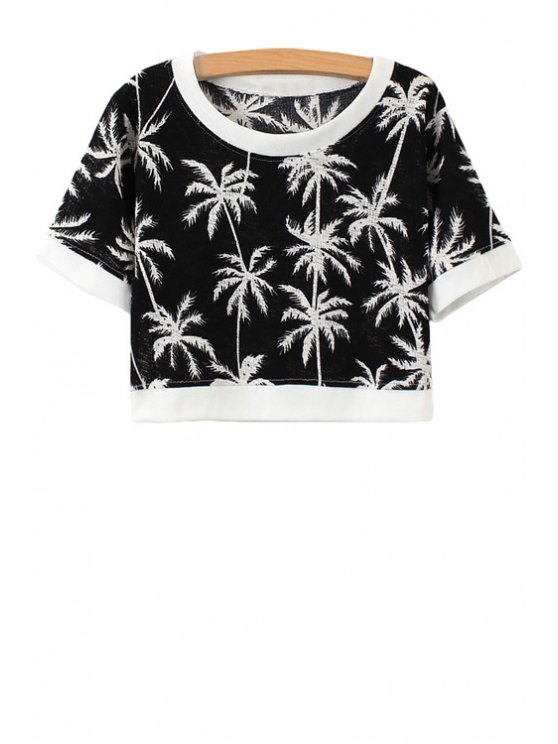 hot Coconut Palm Print Short Sleeve T-Shirt - BLACK ONE SIZE(FIT SIZE XS TO M)