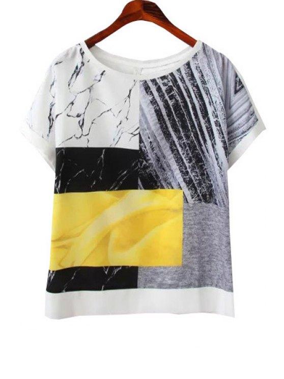 shops Print Spliced Short Sleeves T-Shirt - WHITE S
