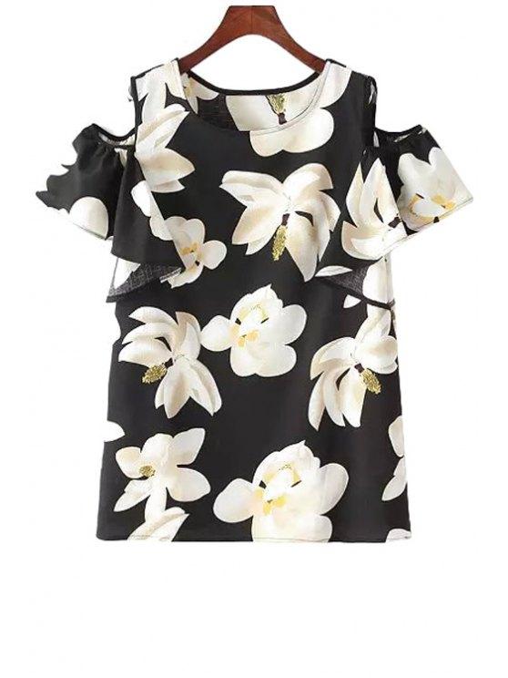 unique Off-The-Shoulder Floral Print T-Shirt - BLACK ONE SIZE(FIT SIZE XS TO M)
