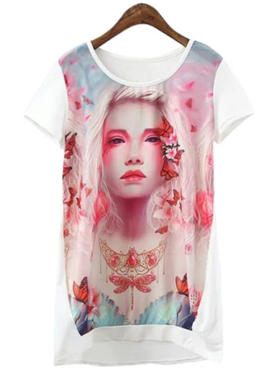 buy Short Sleeves Figure Pattern T-Shirt - WHITE ONE SIZE(FIT SIZE XS TO M)