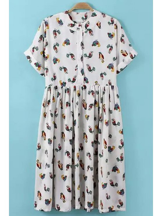 fashion Cartoon Bird Print Short Sleeve Dress - WHITE ONE SIZE(FIT SIZE XS TO M)