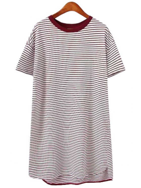 hot Stripe Short Sleeve Straight Dress - DUN ONE SIZE(FIT SIZE XS TO M)