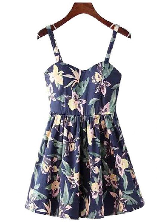 fancy Floral Pattern A-Line Spaghetti Straps Dress - PURPLISH BLUE M