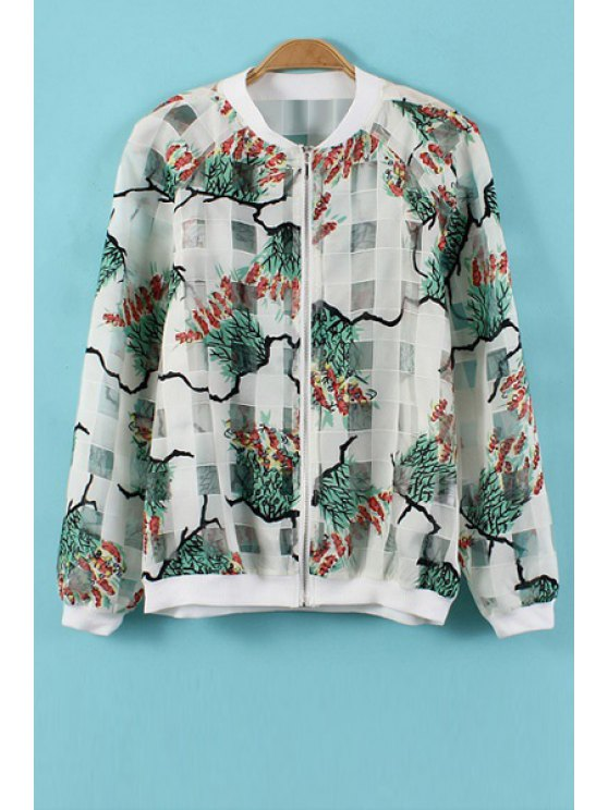 fancy Stand-Up Collar Color Block Print Coat - WHITE S
