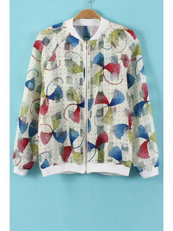 affordable Stand-Up Collar Color Block Print Mesh Coat - COLORMIX S