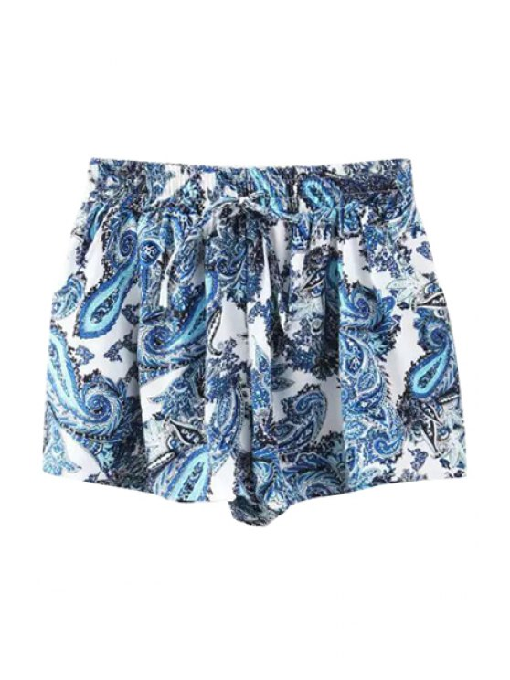 women Paisley Print Tie-Up Shorts - AS THE PICTURE S