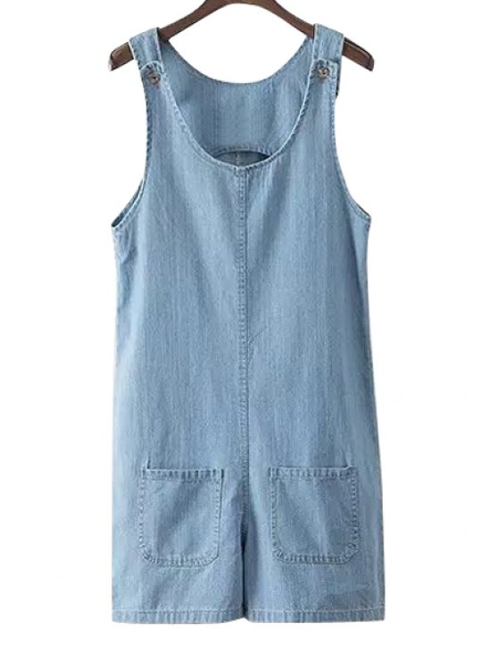 fashion Bleach Wash Pockets Denim Sleeveless Romper - AS THE PICTURE S