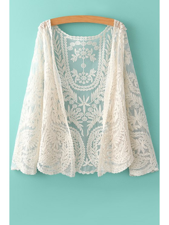 sale Leaf Embroidery Long Sleeve Blouse - OFF-WHITE ONE SIZE(FIT SIZE XS TO M)