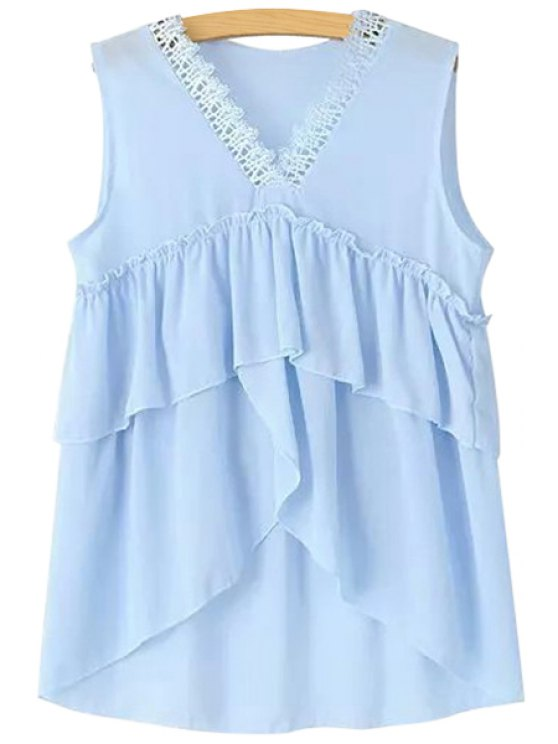 new V-Neck Ruffles Solid Color Tank Top - LIGHT BLUE ONE SIZE(FIT SIZE XS TO M)