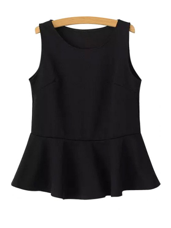shops Solid Color Ruffles Tank Top - BLACK ONE SIZE(FIT SIZE XS TO M)