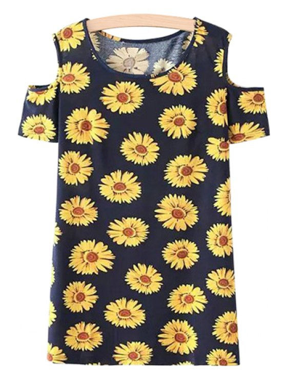 lady Off-The-Shoulder Sunflower Print Dress - YELLOW AND BLACK S