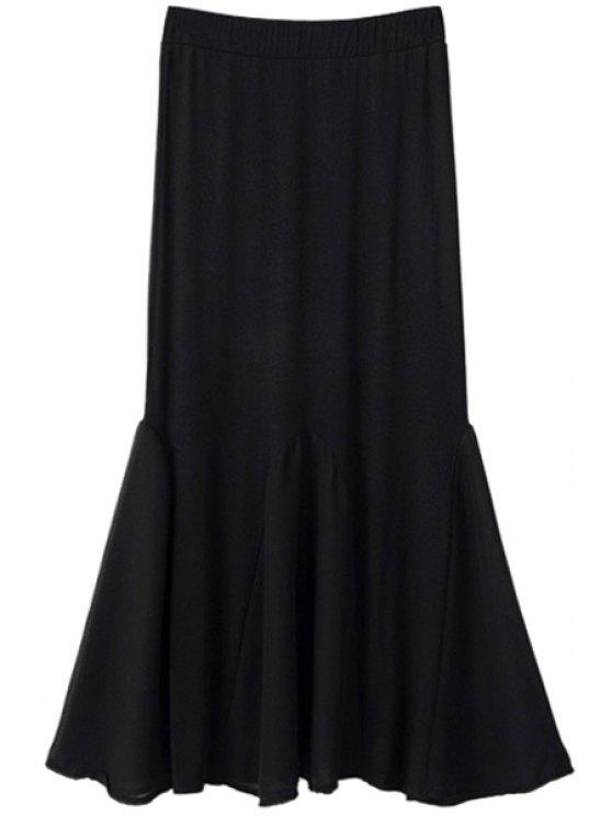 buy Chiffon Spliced Elastic Waist Skirt - BLACK ONE SIZE(FIT SIZE XS TO M)
