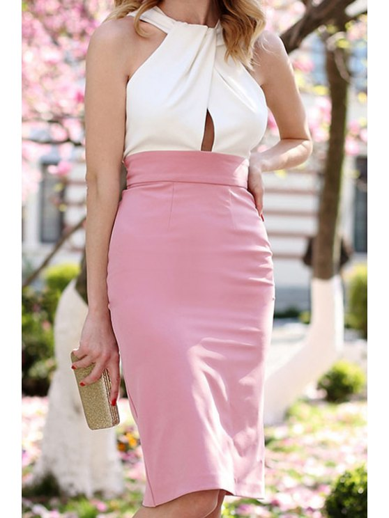 best Color Block Pink White Sleeveless Dress - PINK AND WHITE S