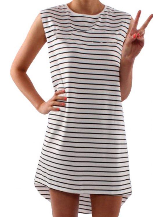 women's Striped White Sleeveless High Low Dress - STRIPE S