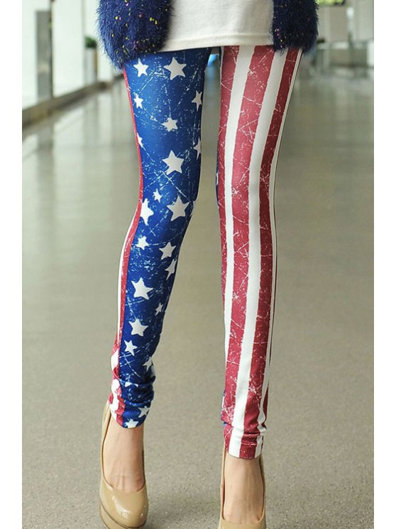 affordable Star Stripe American Flag Print Leggings - AS THE PICTURE ONE SIZE(FIT SIZE XS TO M)
