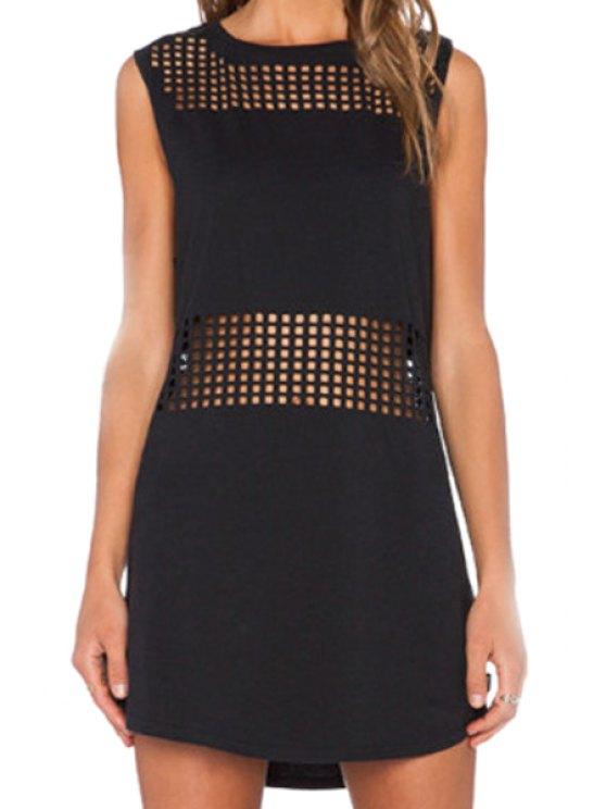 new Black Sleeveless Hollow Dress - BLACK S