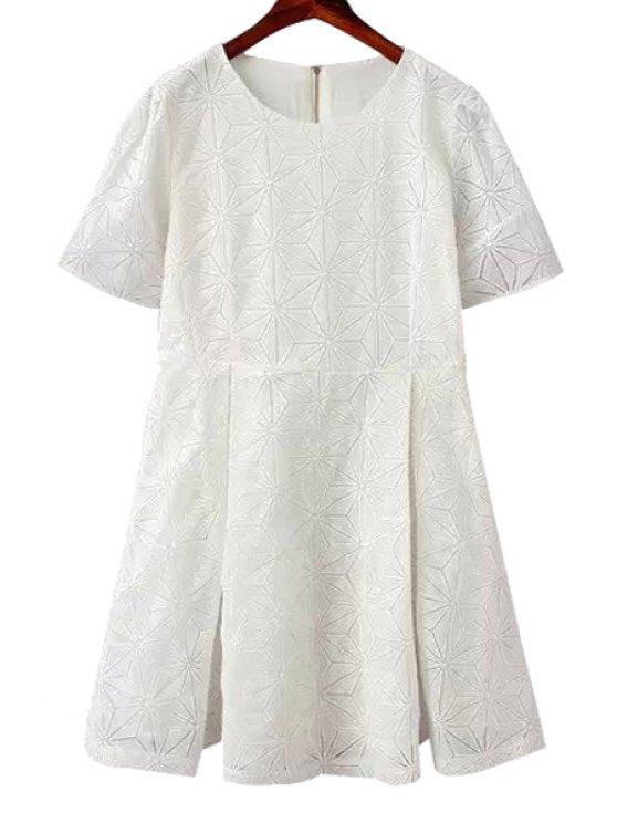 outfit Solid Color Argyle Pattern Slit Dress - WHITE S