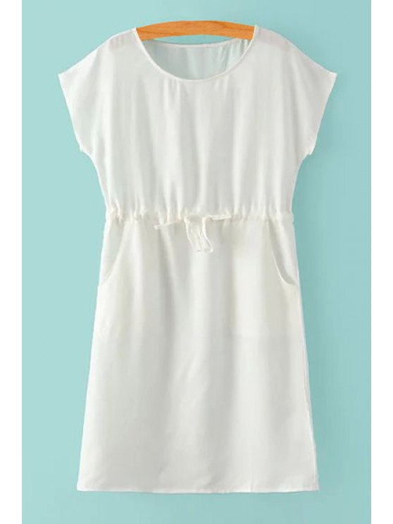 shops Jewel Neck Tie-Up Solid Color Dress - WHITE S