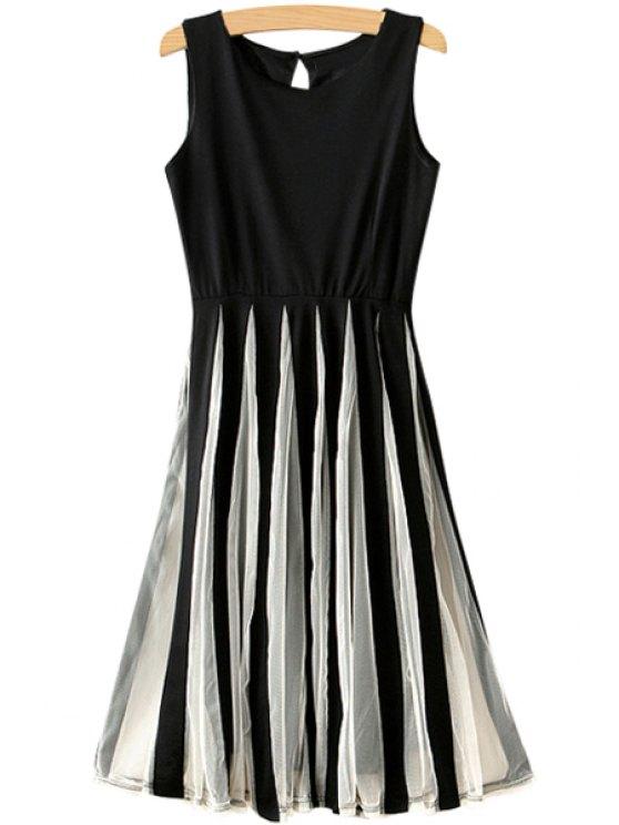 affordable Mesh Spliced A-Line Sundress - BLACK S
