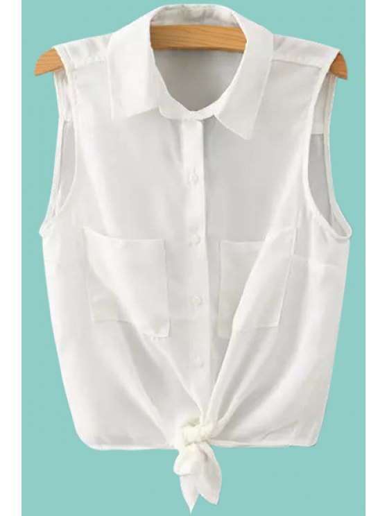 shops Solid Color Sleeveless Self-Tie Shirt - WHITE S