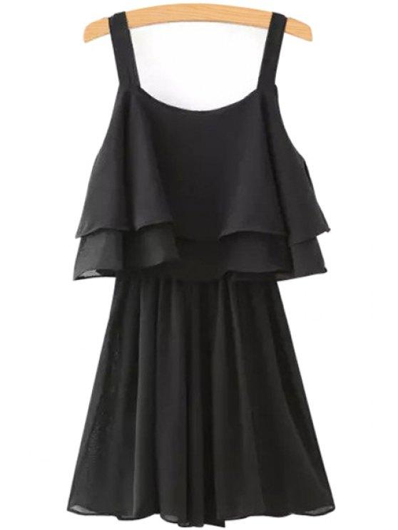 lady Solid Color Layered Chiffon Dress - BLACK S