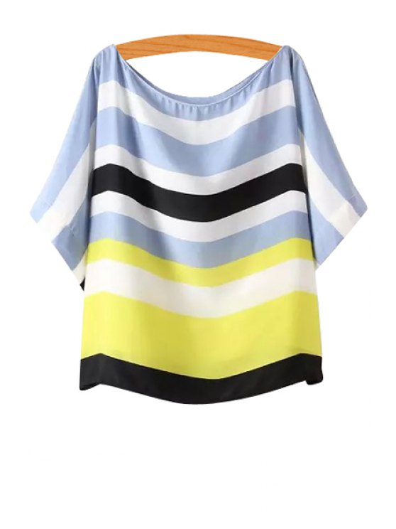 fancy Scoop Neck Color Block Stripe T-Shirt - AS THE PICTURE S