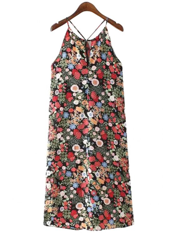 buy Full Flower Print Spaghetti Straps Dress - COLORMIX S