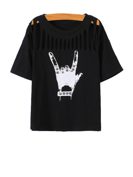 ladies Gesture Print Openwork Short Sleeve T-Shirt - BLACK ONE SIZE(FIT SIZE XS TO M)