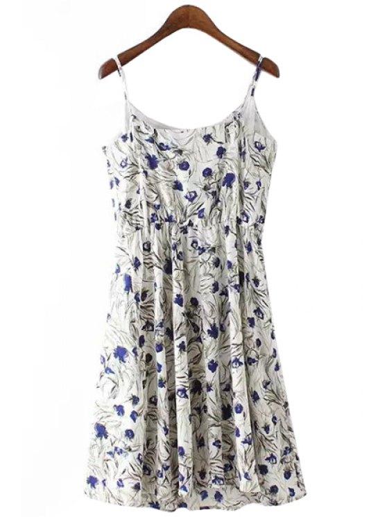 best Tiny Floral Spaghetti Straps Dress - WHITE S