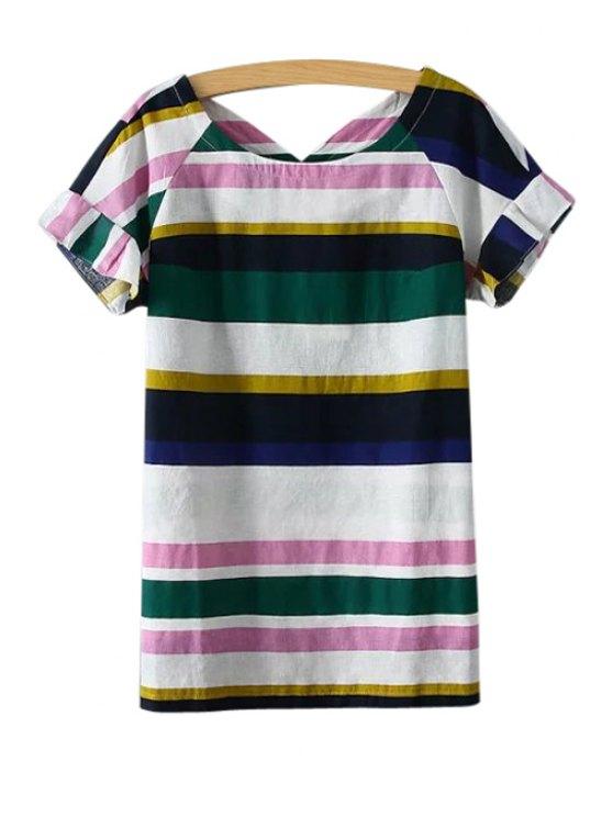best Color Block Stripe Short Sleeve T-Shirt - PINK M