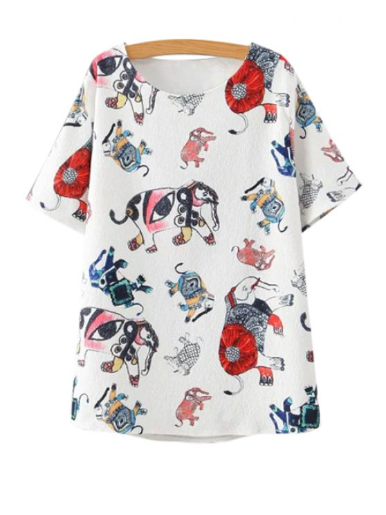 shops Colorful Elephant Print Short Sleeve T-Shirt - WHITE M