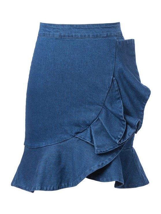 unique Blue Ruffles Denim Skirt - BLUE S
