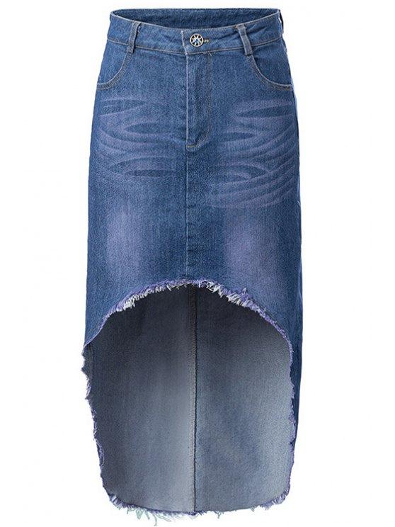 womens High-Low Hem Denim Skirt - ICE BLUE S