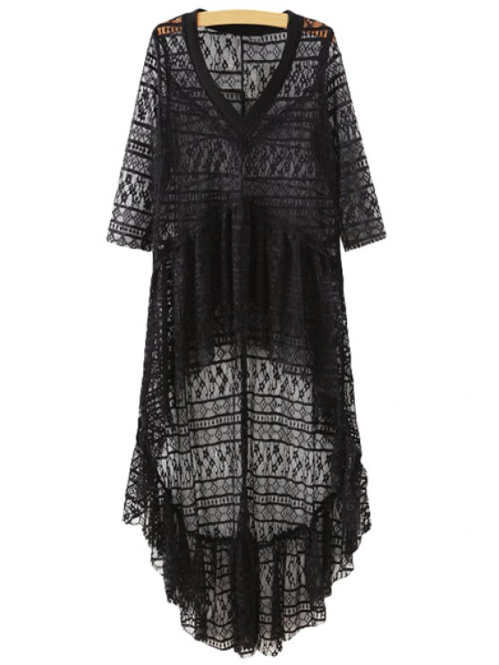 shop Lace See-Through High Low Dress - BLACK M