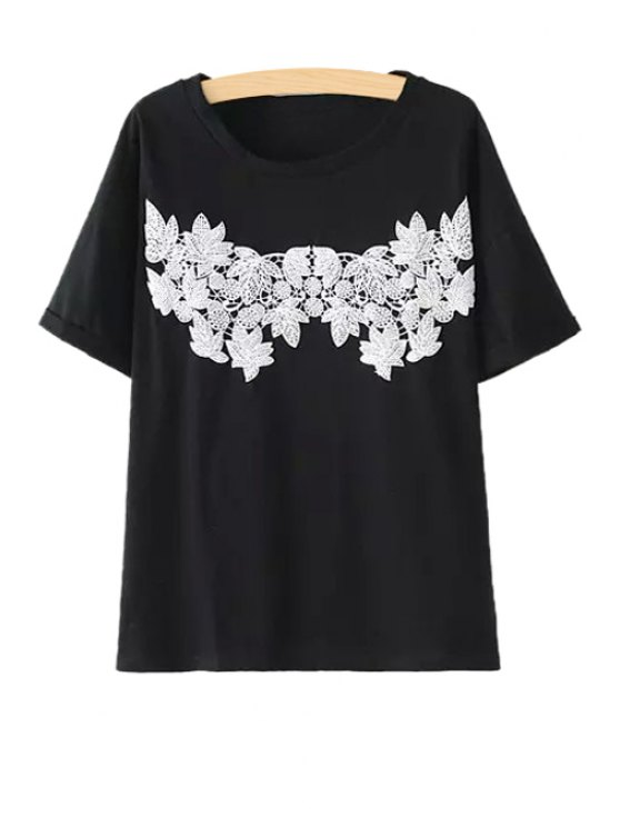 trendy Scoop Neck Leaves Print T-Shirt - BLACK ONE SIZE(FIT SIZE XS TO M)