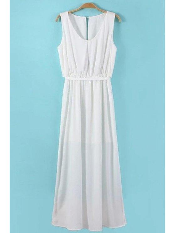 best Sleeveless Side Slit Maxi Dress - WHITE S