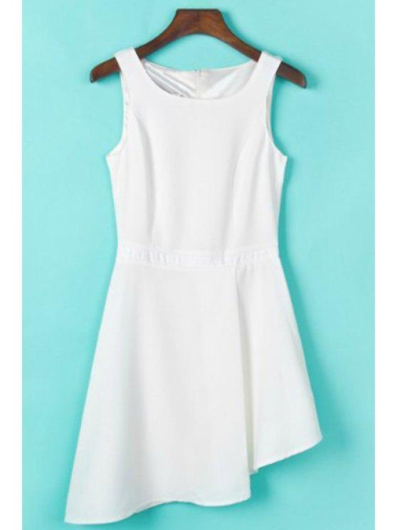 unique Solid Color Irregular Hem Sundress - WHITE S