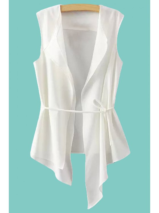 new Solid Color Lace-Up Irregular Waistcoat - WHITE S