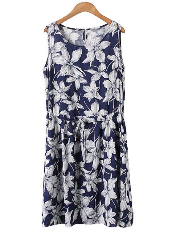 shop White Floral Print Tie-Up Sleeveless Dress - PURPLISH BLUE M