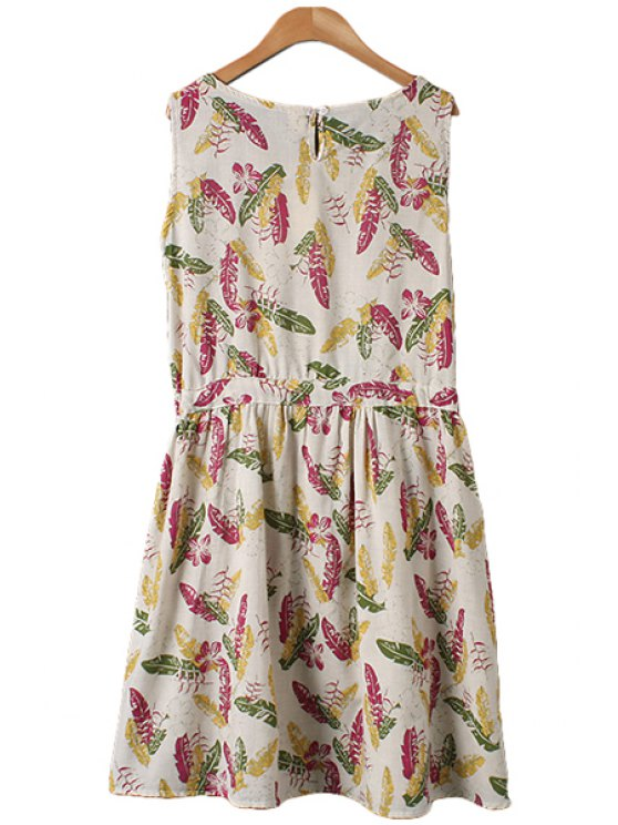 Leaves Print Tie-Up Sleeveless Dress - FLAXEN M Mobile