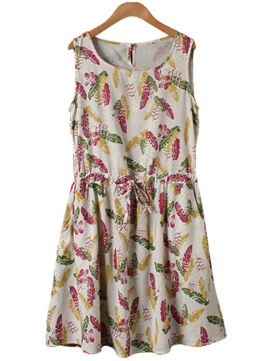Leaves Print Tie-Up Sleeveless Dress - Lino M