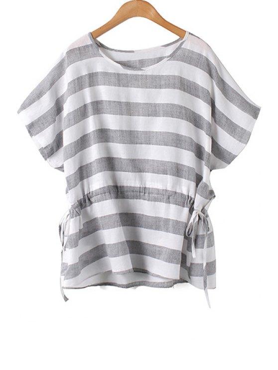 womens Stripe Tie-Up Batwing Sleeve T-Shirt - BLACK M
