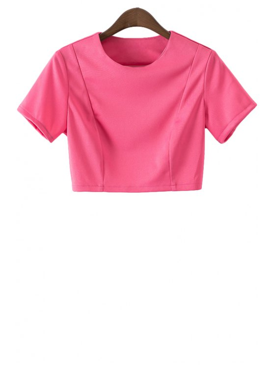 outfit Short Sleeve Solid Color Backless Crop Top - ROSE S