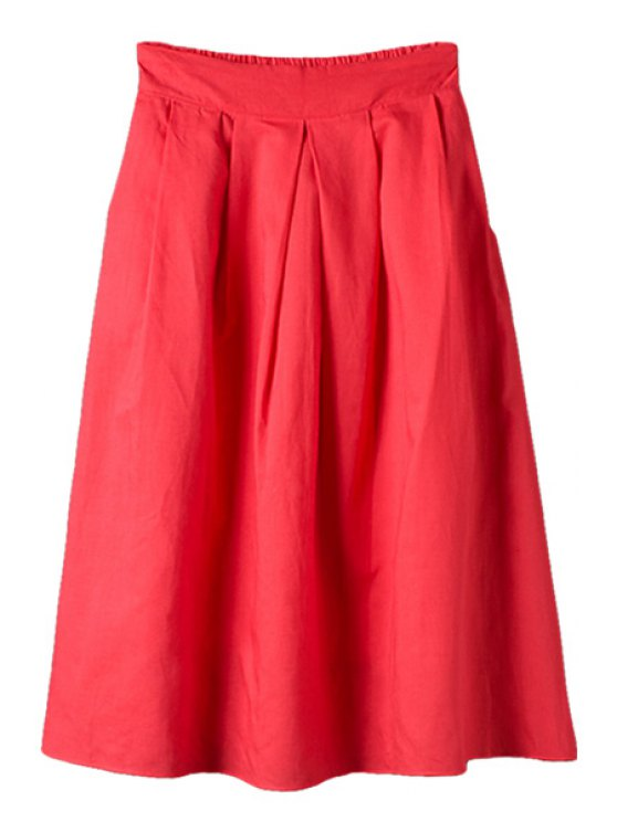 chic Solid Color Ruffle Belt Long Skirt - RED M