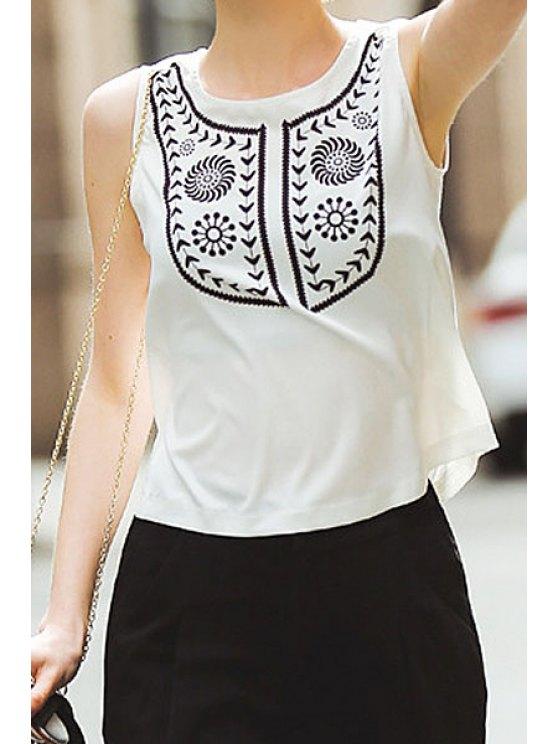 latest White Print Sleeveless Chiffon T-Shirt - WHITE S