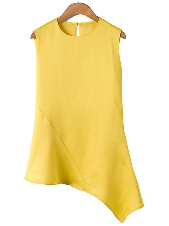 new Jewel Neck Solid Color Asymmetrical Sleeveless T-Shirt - AS THE PICTURE L