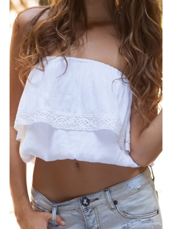 affordable Strapless Solid Color Crop Top - WHITE M